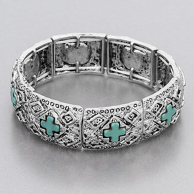 Silver Religiously Inspired Hammered Turquoise Cross Stretchable Bangle Bracelet