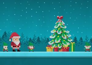 A1-Pixelated-Christmas-Poster-Print-Size-60-x-90cm-Christmas-Poster-Gift-15909