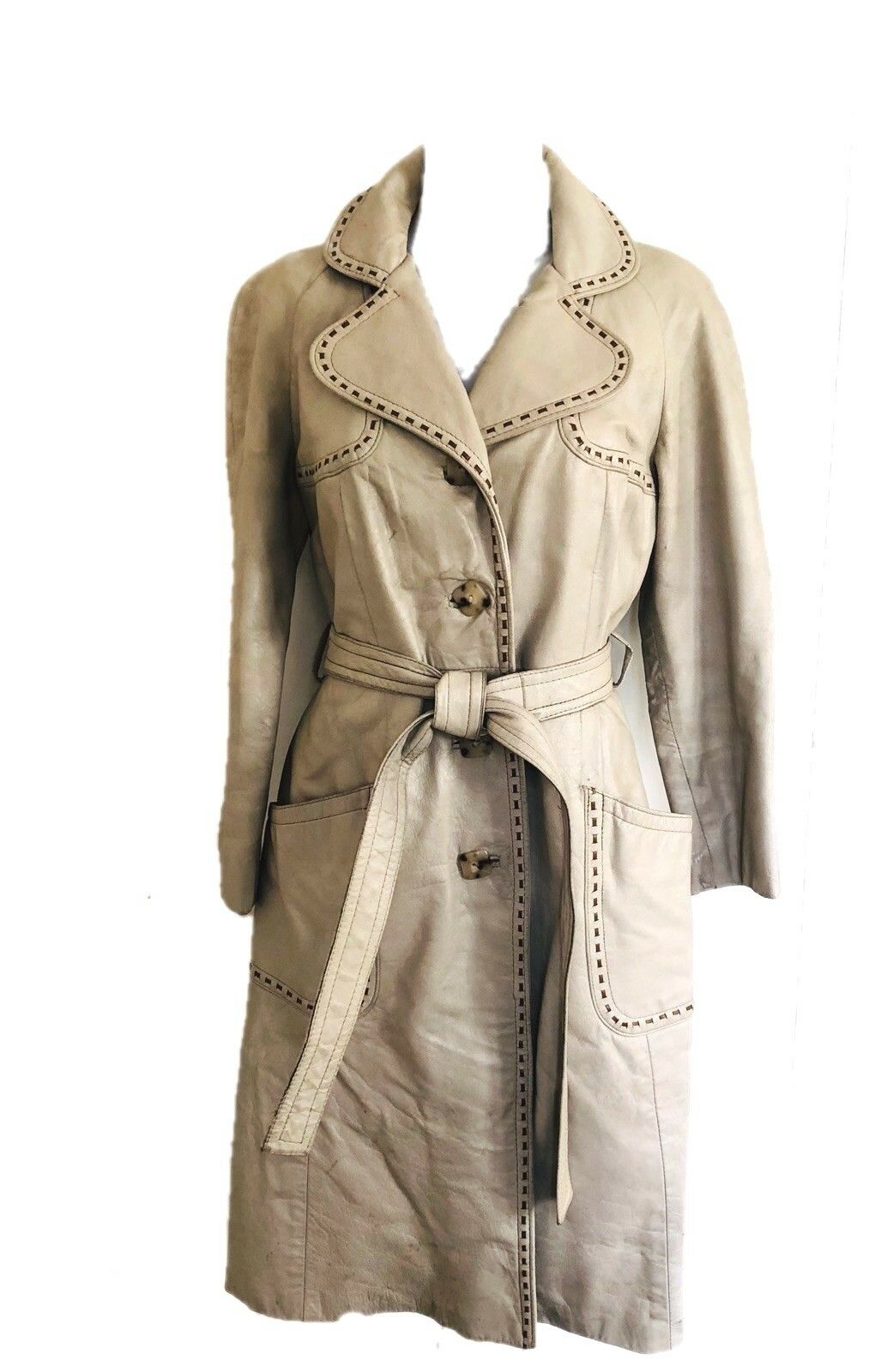 VTG. 24K LEATHER by DAN Di MODES IVORY LEATHER RIBBON STITCHED TRENCH COAT S M