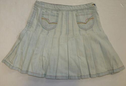 femme new vintage bleach denim plissée rainbow stitch jupe bleu k38 Vente