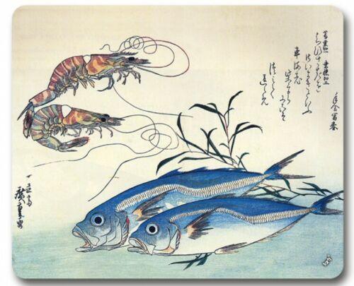 Makrelen Und Garnelen Mauspad Mousepad Ando Hiroshige #93193 23x19cm
