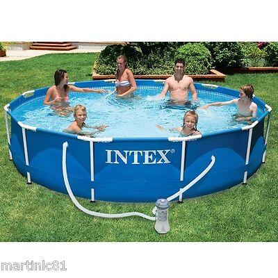 "Intex 12ft x 30"" Metal Frame Swimming Pool Filter Pump Outdoor Family Garden"