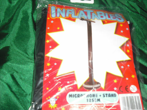 NEW LARGE INFLATABLE FUN TOY MICROPHONE ON STAND 125CM BLACK SUPER-STAR HB
