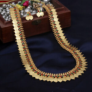 2c9a50e627337 Details about South Indian Traditional Gold Plated Long Ginni Coin Necklace  Set Temple Jewelry