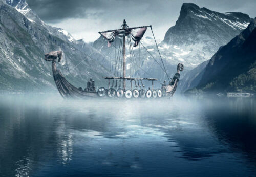 Picture Poster Nordic Art Framed Print Viking Longboat in the Cold North Sea