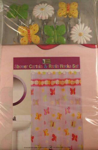 Fun Shower Curtain and Resin Hooks Set LOL FLUTTERBY BUTTERFLY FLOWER POWER DIVA