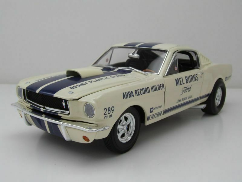 Ford Mustang Drag Shelby GT350 Mel Burns 1965 White, Model Car 1 18   Acme