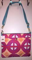 Fossil Women's Zip-top Crossbody Handbag Raspberry Multi Print Tags