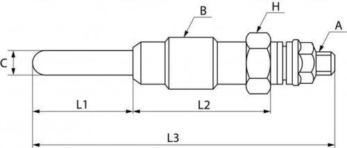 3 x bougie de prechauffage 10,5 V//m18 X 1,5 Pour Deutz f3l812 remorqueur d4005 4505 Glow Plug