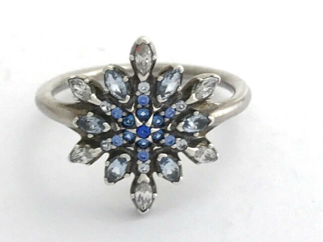 b064e5655 Authentic PANDORA Crystalized Snowflake Ring 190969nblmx-52 Sz 6 for ...
