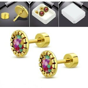 Gold PVD Screw Back Earrings Hypoallergenic Surgical Steel Colorful