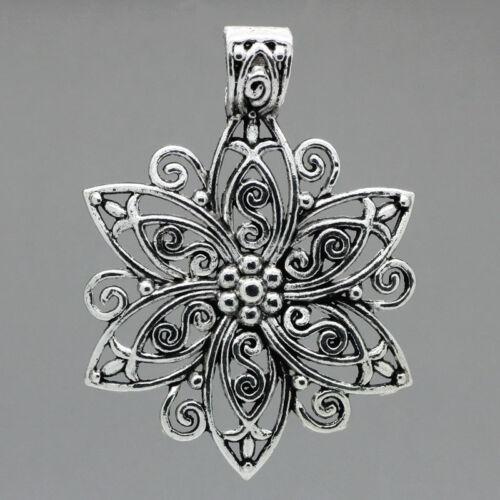 5 älter Silber Filigran Blumen Charm Anhänger 6.6cm x 4.8cm B23485