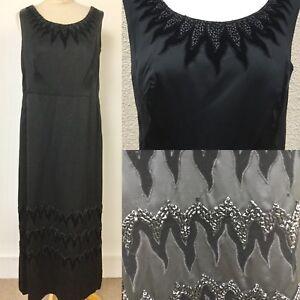 TRUE-VINTAGE-50-s-BRANEL-BLACK-SATIN-MAXI-BALL-GOWN-DRESS-L-14-16-Embroidered