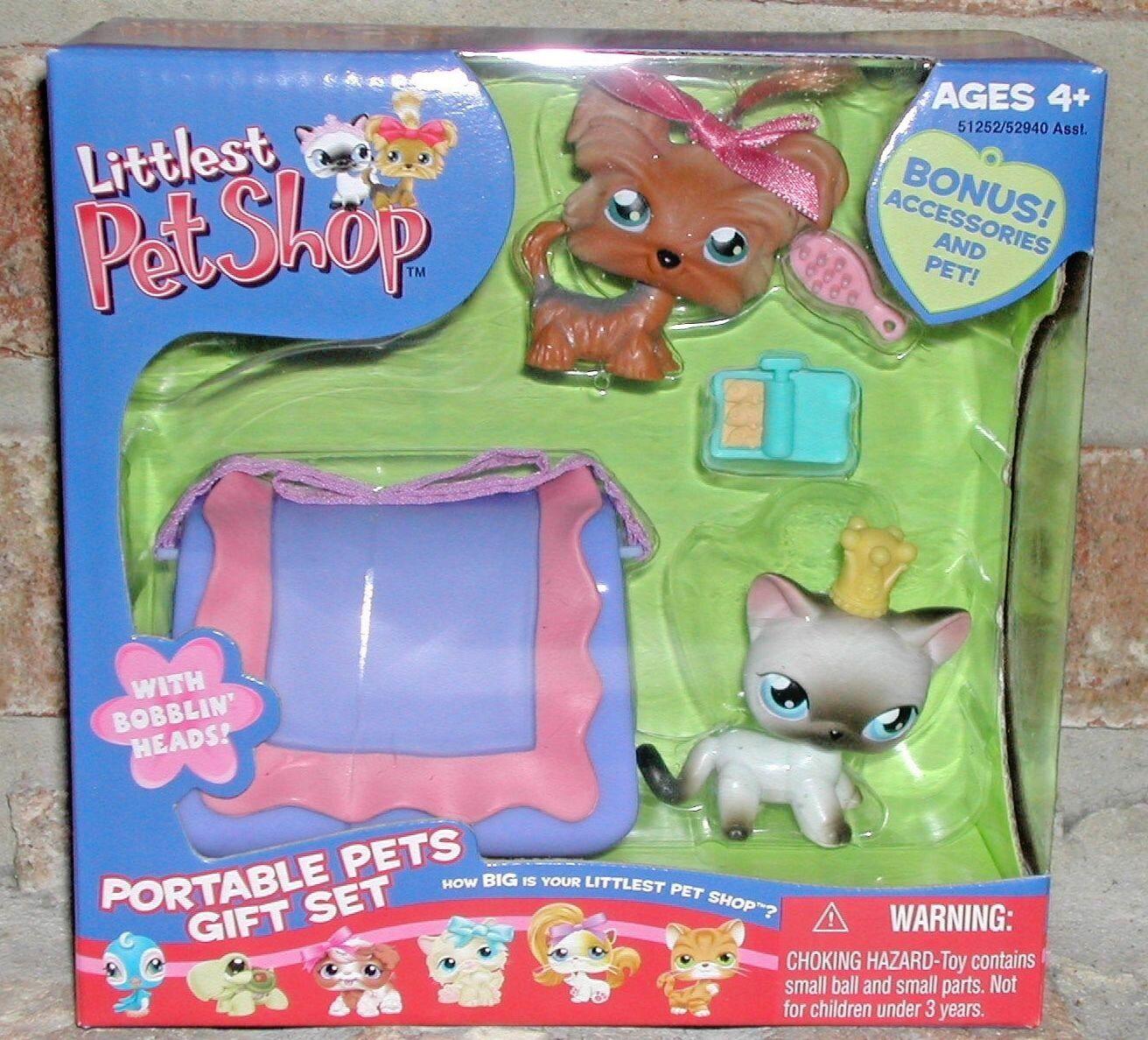 Liten Pet Shop YORKIE 6 SIAMESSE CAT 5 Portables GIFT SET -bärare VHTF 2005