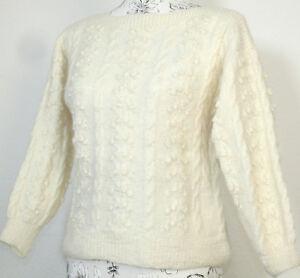 Maglia-Maglione-Pullover-Handarbeit-di-Trecce-Bianco-Lana-Filato