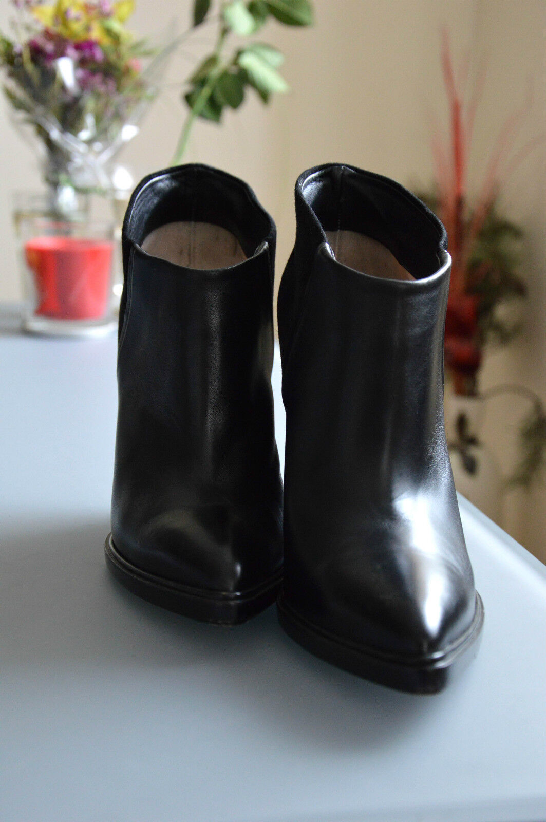 Ladies Black Black Black Wedge Ankle Booties by Bally, size 9US (39), excellent condition c09b50