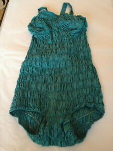 Vintage-1930-40s-teal-blue-bathing-suit-swimming-costume-size-10-12