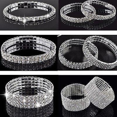 New Sliver Crystal Rhinestone Stretch Bracelet Bangle Wedding Bridal Wristband