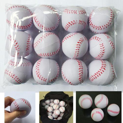 12PCS Sport Training Baseball Elastic PU Foam Base Balls Softball Ball New White