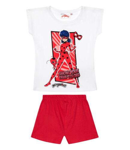 Girls Kids Official Miraculous Ladybug White Red Short Sleeve Pyjamas PJs