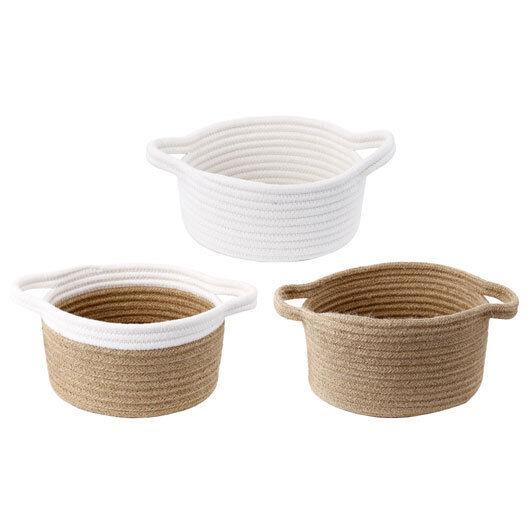 Jute Baskets w  Cotton Trim 10 8 7  Set Of 3 - 40306