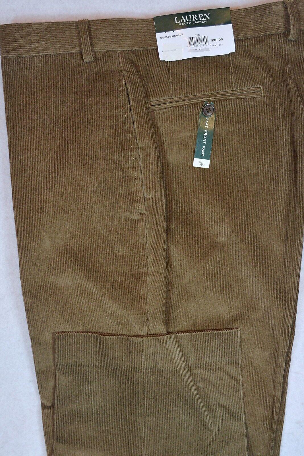 LAUREN Ralph Lauren Corduroy Flat Front Tan Dress Cords Pants 34 32 New