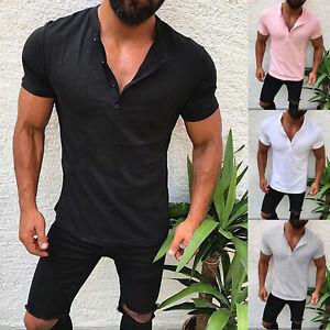 Mens Slim Fit V Neck Plain Short Sleeve Muscle T-shirt Casual Tee Shirts Tops UK