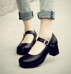 Sweet-Women-Lolita-Girl-Round-Toe-Buckle-Mary-Jane-Ankle-Strap-Block-Heels-Shoes