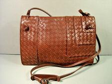 Bottega Veneta brown woven leather fold over cross body shoulder bag purse  NEW