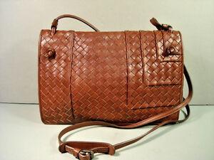 b5969bf2e2d4 Bottega Veneta brown woven leather fold over cross body shoulder bag ...