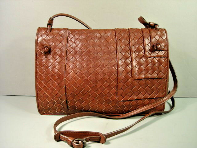 Bottega Veneta Brown Woven Leather Fold Over Cross Body Shoulder Bag Purse Ebay