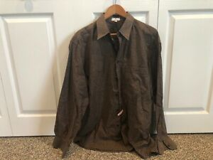 Mens-Zanella-Brown-Checkered-Shirt-Size-Large-L