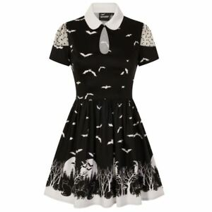 Banned-Spooky-Woodland-Full-Moon-Cats-amp-Bats-Graveyard-Black-Collar-Dress