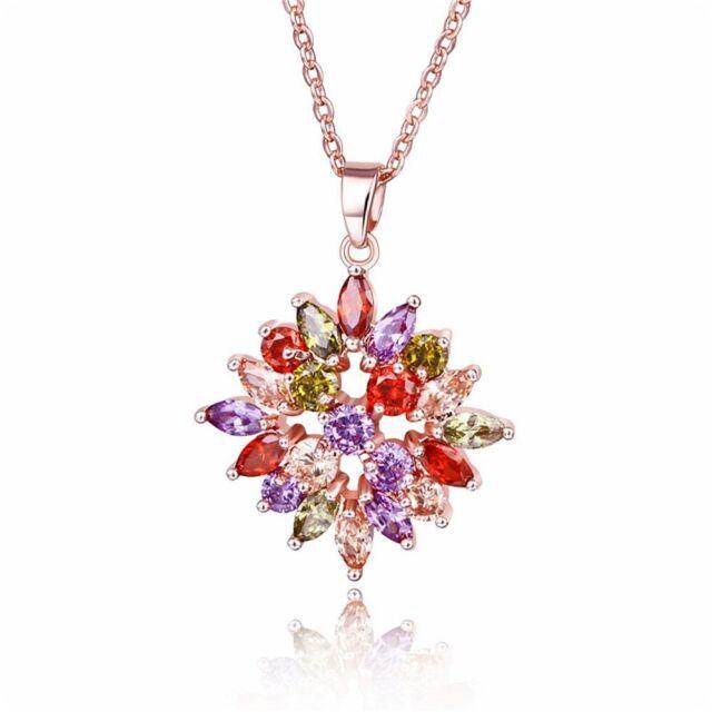 Fashion Women Rose Gold Crystal Flower Pendant Necklace Bridal Wedding Jewelry f
