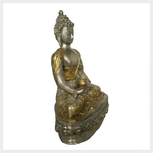 Erleuchteter Buddha 33cm ca.4KG Messing Silber Nepal Tibet Buddhismus Meditation