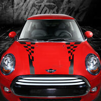 2014 2015 Mini Cooper Checkered Hood Rally Racing Accent Stripes Decals Graphic