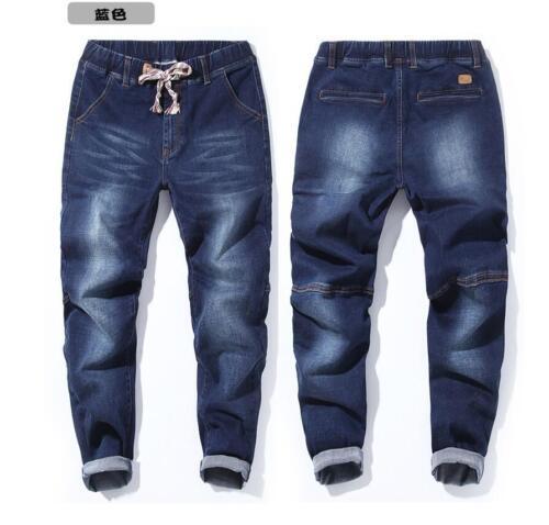 M-7XL Men/'s Elastic Waist Loose Denim Pants Stretch Taper Fit Jeans Plus Size