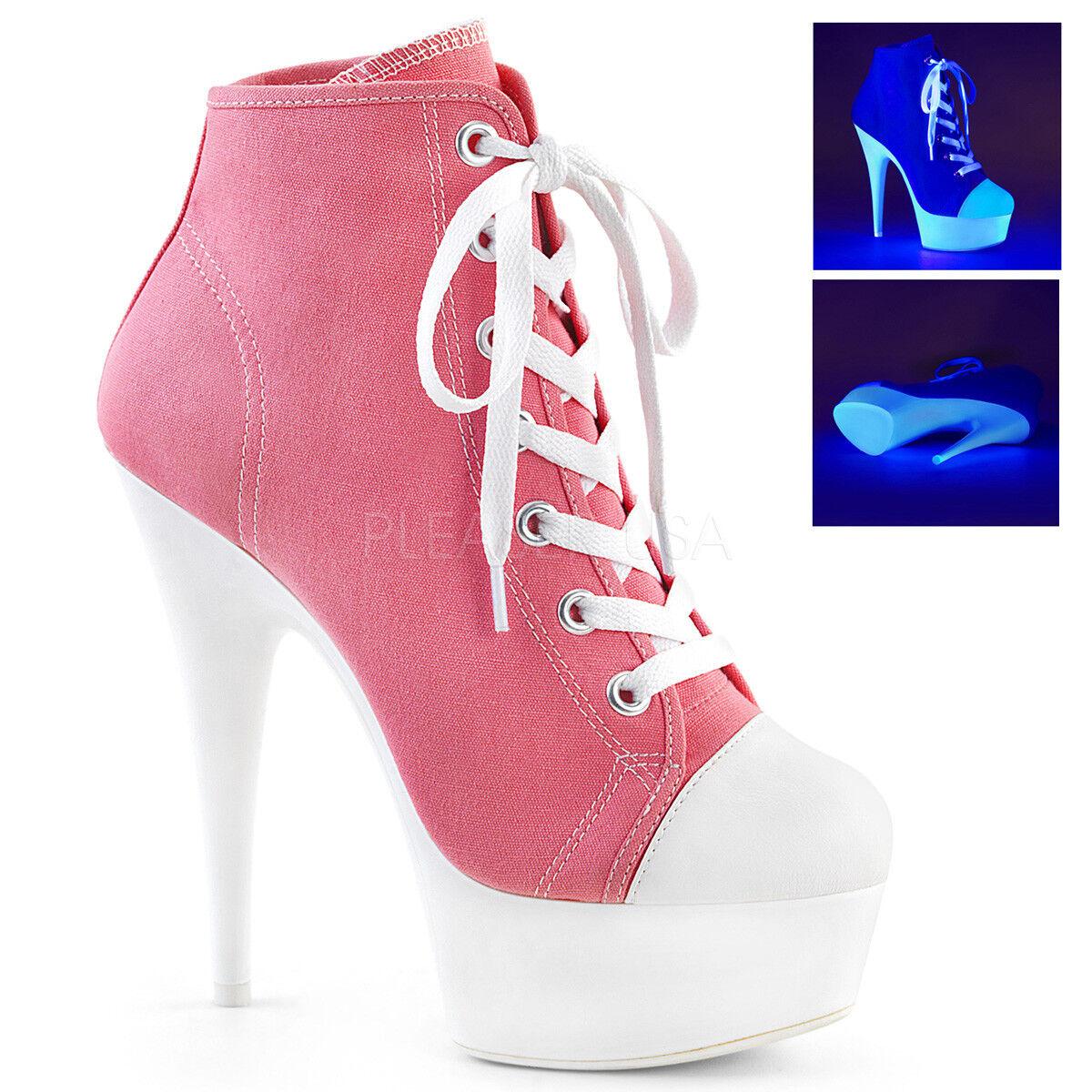Pleaser DELIGHT-600SK-02 Women's Pink Canvas Neon White Platform Sneaker Boots