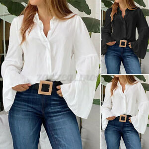 Women Buttons Down Flared Sleeve Shirt Tops Loose Ladies Plain Blouse Tops Plus