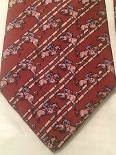 Hermes Tie Horse and Jockey Jumping over Fence Brown Rust Colored Style 671 OA