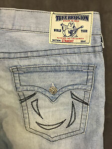 NEW-TRUE-RELIGION-MENS-JEANS-279-STRAIGHT-FLAP-POCKET-IN-SMOKE-WAGON-SZ-38