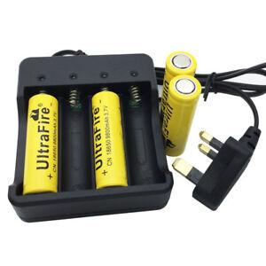 4X-Flat-Top-18650-3-7V-9800mAh-Li-ion-Rechargeable-Battery-amp-4-2V-UK-Plug-Charger