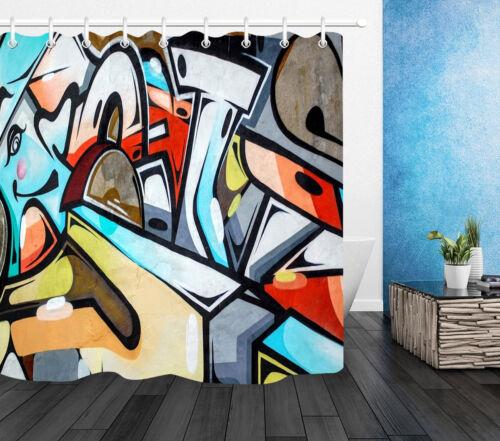 Waterproof Fabric Shower Curtain Set Abstract Graffiti Art Bathroom Decor Hooks
