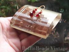 Vintage SCARLET RED RHINESTONE EARRINGS  SWAROVSKI faceted SPARKLY kitsch GP