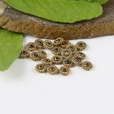 150pcs dark gold-tone  blossom spacer beads h1352