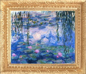 MONET IRISES Dollhouse Picture FRAMED Miniature Art MADE IN USA FAST DELIVERY