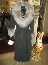 GORGEOUS ISSAC MIZARAHI FOX FUR COLLAR CUFFS ALPACA WOOL LONG COAT 4 6 NEW