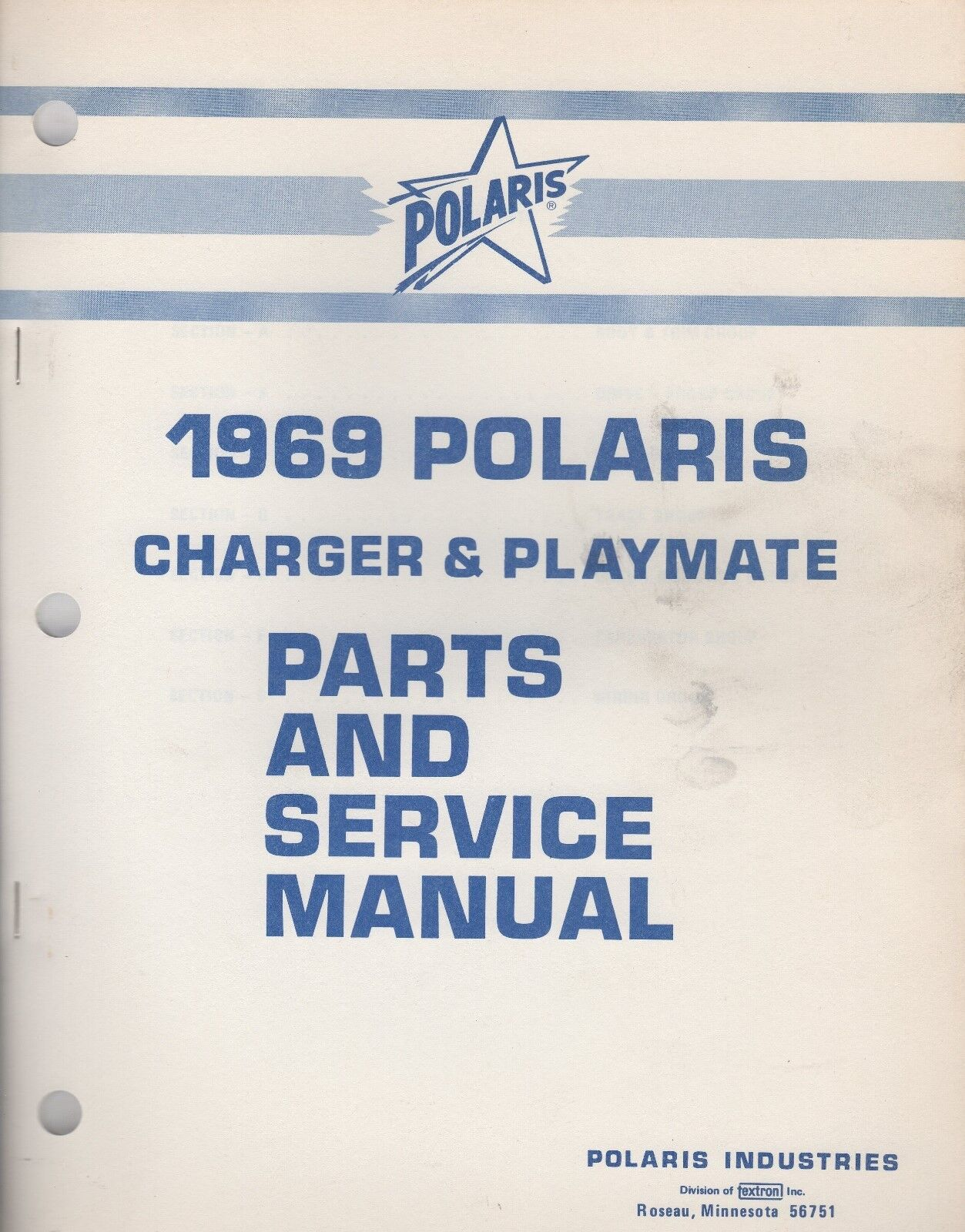1969 POLARIS SNOWMOBILE CHARGER & PLAYMATE PARTS and SERVICE MANUAL (885)