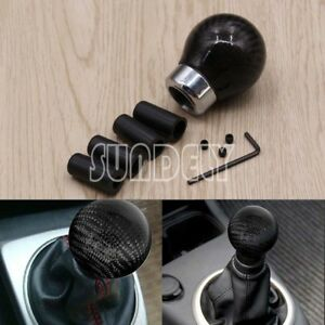 Black-Carbon-Fiber-Ball-Gear-Shift-Knob-For-Manual-Transmission-Trans-Speed