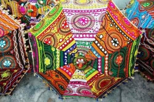 10 PC Lot Indian Decorative Wedding Umbrellas Handmade Embroidery Women Parasols